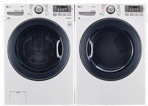 "WM3770HWA LG 27"" 4.5 cu. ft. Ultra Large Capacity Front Load Washer with Steam Options and TurboWash - White"