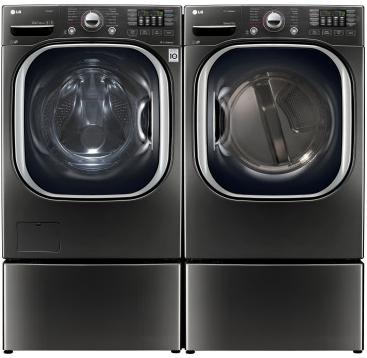 "WM4370HKA LG 27"" 4.5 cu. ft. Ultra Large Capacity Front Load Washer with Coldwash Technology and NFC Tag On - Black Stainless Steel"