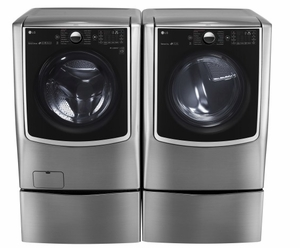 "WM9000HVA LG 29"" 5.2 Cu. Ft. 14-Cycle High-Efficiency Front-Loading Washer with Steam - Graphite Steel"