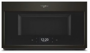 """WMHA9019HV Whirlpool 30"""" 1.9 Cu. Ft. Over-the-Range Microwave Hood Combination with Scan To Connect Technology and 400 CFM - Fingerprint Resistant Black Stainless Steel"""