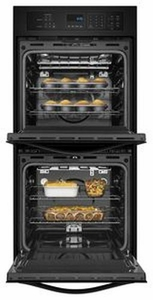 WOD51ES4EB Whirlpool 24 Inch Wide 6.2 Cu. Ft. Double Wall Oven with High Heat Self Cleaning System - Black