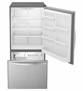 "WRB322DMBM Whirlpool 33"" 22 cu. ft. Bottom-Freezer Refrigerator with Freezer Drawer and Factory Installed Icemaker - Stainless Steel"