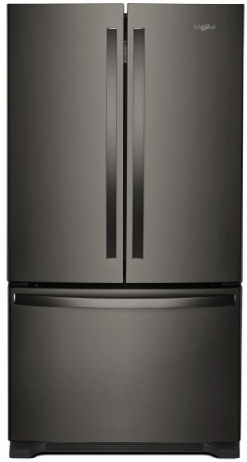"WRF535SWHV Whirlpool 36"" 25.2 cu. ft. Capacity French Door Refrigerator with Temperature-Controlled Drawer and Interior Water Dispenser - Black Stainless Steel"
