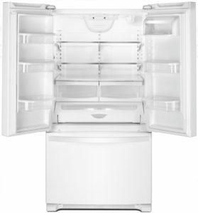 """WRF535SWHW Whirlpool 36"""" 25.2 cu. ft. Capacity French Door Refrigerator with Temperature-Controlled Drawer and Interior Water Dispenser - White"""
