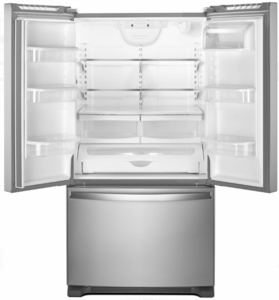 "WRF535SWHZ Whirlpool 36"" 25.2 cu. ft. Capacity French Door Refrigerator with Temperature-Controlled Drawer and Interior Water Dispenser - Stainless Steel"