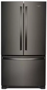 """WRF540CWHV Whirlpool 36"""" Counter Depth French Door Refrigerator with Interior Water Dispenser and LED Interior Lighting - Black Stainless Steel"""