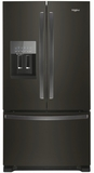 """WRF555SDHV Whirlpool 36"""" 25 Cu. Ft. French Door Bottom Mount Refrigerator with Two-Tier Freezer Storage and EveryDrop Filtration - Fingerprint Resistant Black Stainless Steel"""