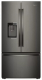 "WRF954CIHV Whirlpool 36"" 24 Cu. Ft. French Door Free Standing Refrigerator with Freeze Shield and LED Lighting - Black Stainless Steel"