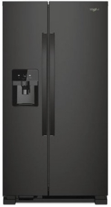 "WRS321SDHB Whirlpool 33"" 21.4 Cu. Ft. Capacity Side-By-Side Refrigerator with LED Lighting and Built-In Ice Maker- Black"
