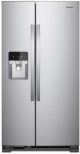 "WRS321SDHZ Whirlpool 33"" 21.4 Cu. Ft. Capacity Side-By-Side Refrigerator with LED Lighting and Built-In Ice Maker - Stainless Steel"