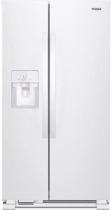 """WRS325SDHW Whirlpool 36"""" 24.6 Cu. Ft. Capacity Side-By-Side Refrigerator with LED Lighting and Built-In Ice Maker - White"""