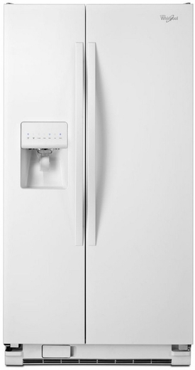 "WRS335FDDW Whirlpool 36"" Wide 25 Cu. Ft. Side-by-Side Refrigerator with Water Dispenser - White"