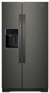 """WRS571CIHV Whirlpool 36"""" 20.59 Cu. Ft. Capacity Freestanding Counter Depth Side by Side Refrigerator with Accu-Chill Temperature Management System and LED Interior Lighting - Black Stainless Steel"""