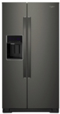 "WRS571CIHV Whirlpool 36"" 20.59 Cu. Ft. Capacity Freestanding Counter Depth Side by Side Refrigerator with Accu-Chill Temperature Management System and LED Interior Lighting - Black Stainless Steel"