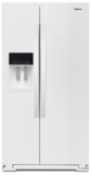 "WRS571CIHW Whirlpool 36"" 20.59 Cu. Ft. Capacity Freestanding Counter Depth Side by Side Refrigerator with Accu-Chill Temperature Management System and LED Interior Lighting - White"