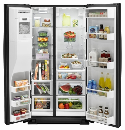 WRS950SIAE Whirlpool 30 cu. ft. Side-by-Side Refrigerator with MicroEdge Shelves - Black Ice