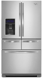 "WRV976FDEM Whirlpool 36"" 26 cu. ft. Double Drawer French Door Refrigerator with Dual Cooling System - Monochromatic Stainless Steel"