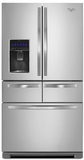 "WRV986FDEM Whirlpool 36"" 26 cu. ft. Double Drawer Refrigerator with Dual Icemakers - Monochromatic Stainless Steel"