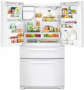 """WRX735SDHW Whirlpool 36"""" 25 Cu. Ft. French Door Refrigerator with Accu-Chill and EveryDrop Filtration - White"""