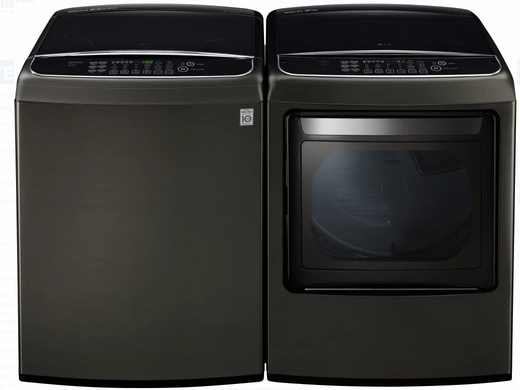 """WT1901CK LG 27"""" 5.0 cu. ft. Mega Capacity Top Load Washer with TurboWash and Front Controls - Black Stainless Steel"""