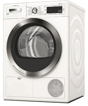 "WTG865H2UC Bosch  24"" 800 Series Front Load Compact Condensation Dryer with Sensor Controlled Automatic Drying Programs and LED Display - White"