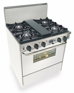 """WTN275-7W Five Star 30"""" Pro Style Dual-Fuel Self-Cleaning Convection Range with Open Burners - Natural Gas - White"""