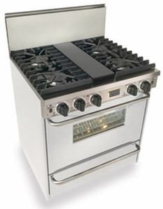 "WTN281-7W Five Star 30"" Pro Style Natural Gas Convection Range with Sealed Burners - Natural Gas - White"