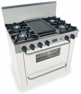 "WTN310-7W Five Star 36"" Pro Style Natural Gas Range with Open Burners - White"