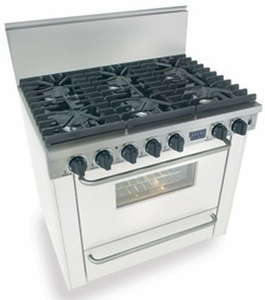 """WTN311-7W Five Star 36"""" Pro Style Natural Gas Range with Six Sealed Burners - White"""
