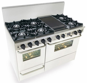 "WTN525-7W Five Star 48"" Pro Style Dual Fuel Self-Cleaning Convection Range with Open Burners - Natural Gas - White"