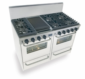"""WTN531-7W Five Star 48"""" Pro Style Gas Convection Range with Sealed Burners - Natural Gas - White"""
