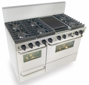 "WTN537-7W Five Star 48"" Pro Style Dual-Fuel Range Sealed Burners Self-Cleaning Convection Range - Natural Gas - White"