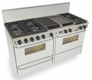 "WTN637-7W Five Star 60"" Pro Style Dual-Fuel Range Convection Oven with Sealed Burners - Natural Gas - White"