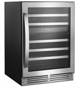 "WUW55X24HS Whirlpool 24"" Undercounter Wine Center with Reversible Glass Door & LED Lighting - Stainless Steel"