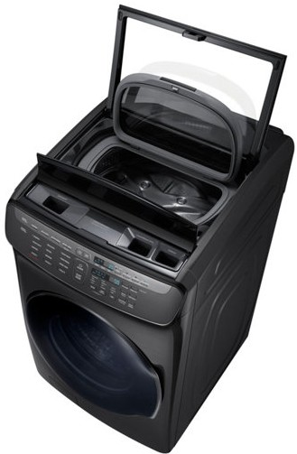 "WV55M9600AV Samsung 27"" 5.5 cu. ft. Capacity Front Load Washer With FlexWash and SteamWash - Black Stainless Steel"