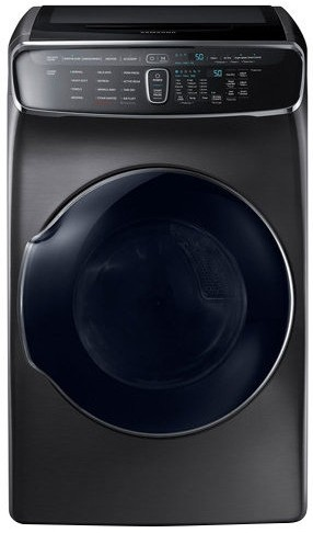 """WV60M9900AV Samsung 27"""" 6.0 cu. ft. Capacity Front Load Washer With FlexWash and SteamWash - Black Stainless Steel"""