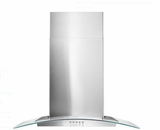 "WVW51UC0FS Whirlpool 30"" Curved Glass Wall Canopy Hood with 400 CFM and 3-Speed Button Control - Stainless Steel"