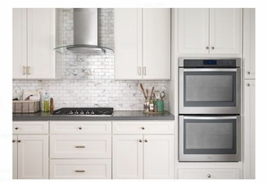 """WVW51UC0FS Whirlpool 30"""" Curved Glass Wall Canopy Hood with 400 CFM and 3-Speed Button Control - Stainless Steel"""
