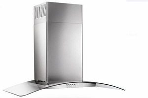 "WVW51UC6FS Whirlpool 36"" Curved Glass Wall Canopy Hood with 400 CFM and 3-Speed Button Control - Stainless Steel"