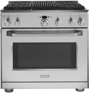 "ZDP364NRPSS Monogram 36"" Dual-Fuel Pro Style Range with 4 Burners and Grill - Natural Gas - Stainless Steel"