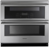 "ZET1DJSS GE Monogram 30"" Double Wall Oven with 5.0 Total Cu. Ft. Capacity and True European Convection - Stainless Steel"