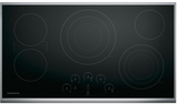 "ZEU36RSJSS Monogram 36"" Touch Control Electric Cooktop with Glide Touch Controls - Black with Stainless Steel"