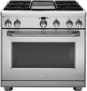 """ZGP364NDRSS Monogram 36"""" All Gas Pro Style Range with 4 Burners and Griddle - Natural Gas - Stainless Steel"""