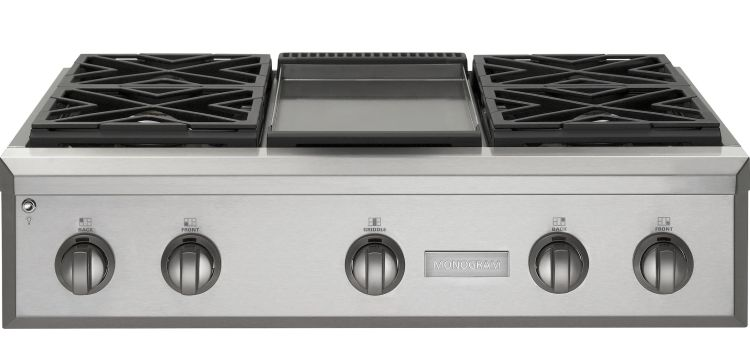 Zgu364ndpss Monogram 36 Pro Style Gas Cooktop With 4 Burners And Griddle Natural Stainless Steel