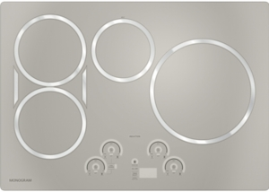 """ZHU30RSJSS Monogram 30"""" Induction Cooktop with 4 Cooking Zones 3700 Watts Slide Touch Controls - Silver"""