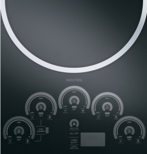 """ZHU36RDJBB Monogram 36"""" Induction Cooktop with 5 Cooking Zones - Black"""