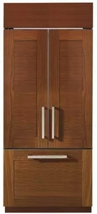 "ZIP360NH Monogram 36"" Built-In French-Door Refrigerator with European Style Handle Design - Custom Panel"