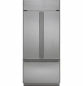 "ZIPS360NHSS Monogram 36"" Built-In French-Door Refrigerator with European Style Handles - Stainless Steel"