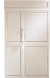 "ZIS480NK GE Monogram 48"" Built-In Side-by-Side Refrigerator with LED Lighting and WiFi Connect - Custom Panel"