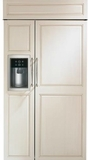 "ZISB420DK GE Monogram 42"" Built-In Side-by-Side Refrigerator with LED Lighting and WiFi Connect - Custom Panel"